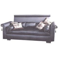 Chic Vintage Designer Detailed 'St. Laurent' Custom Sofa in Cobalt Bergamo Silk