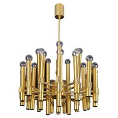 Very Large Angelo Brotto for Esperia Brass Chandelier, 1960s Modernist Design