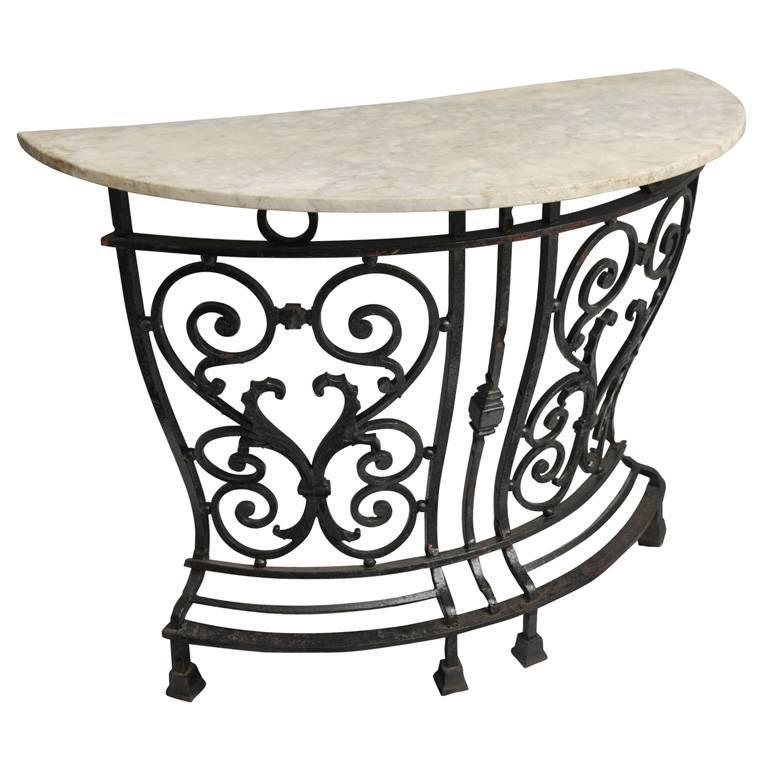 19th C English Marble And Wrought Iron Curved Console Table For Sale