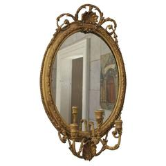 Gilded Oval Girandole Mirror with Triple Candelabra