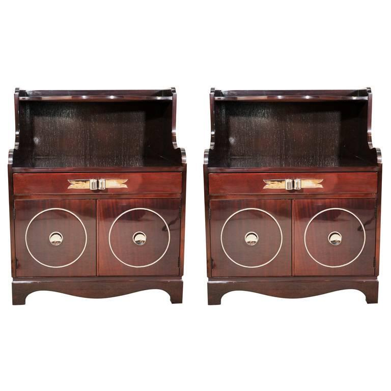 Grosfeld House Mahogany Night Stands For Sale