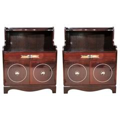 Pair of Ebonized Mahogany Side Cabinets by Grosfeld House