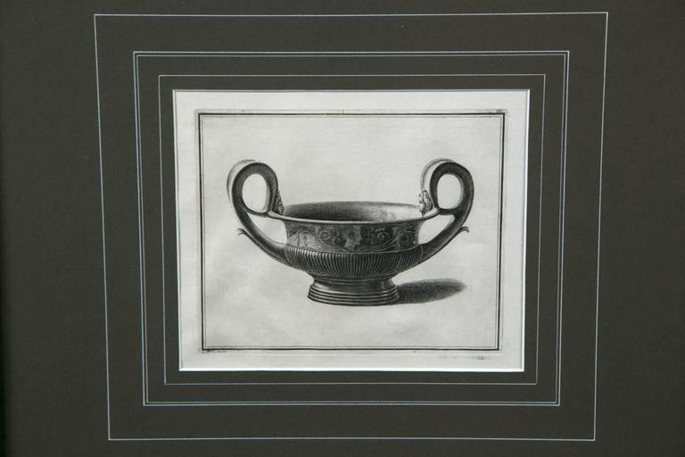 European Framed Etching, Neoclassical Vessel, 19th Century For Sale