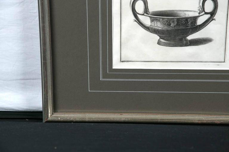 Paper Framed Etching, Neoclassical Vessel, 19th Century For Sale