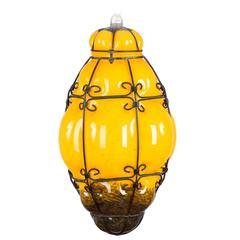 Midcentury Caged Murano Glass Pendant Lantern, Italy, 1950s