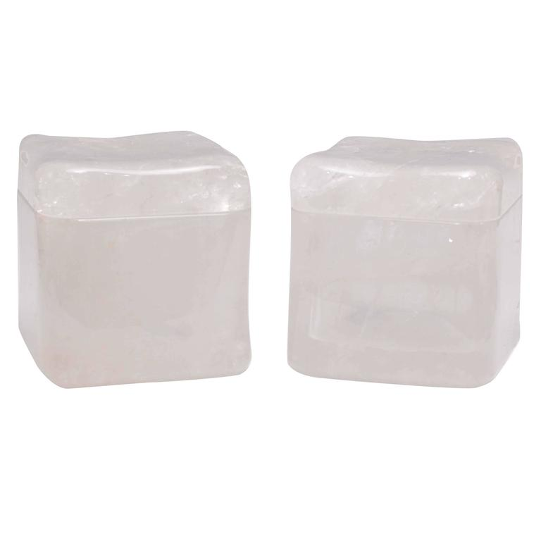 Two Modern Rock Crystal Quartz Boxes with Cover