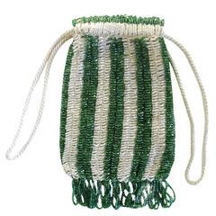Vintage 1920s Flapper Green Glass Beaded Purse Bag