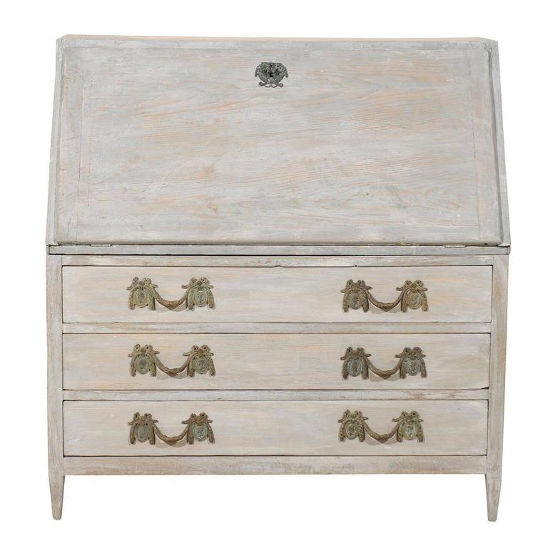 Swedish 19th Century Gustavian Style Painted Wood Slant-Front Desk For Sale