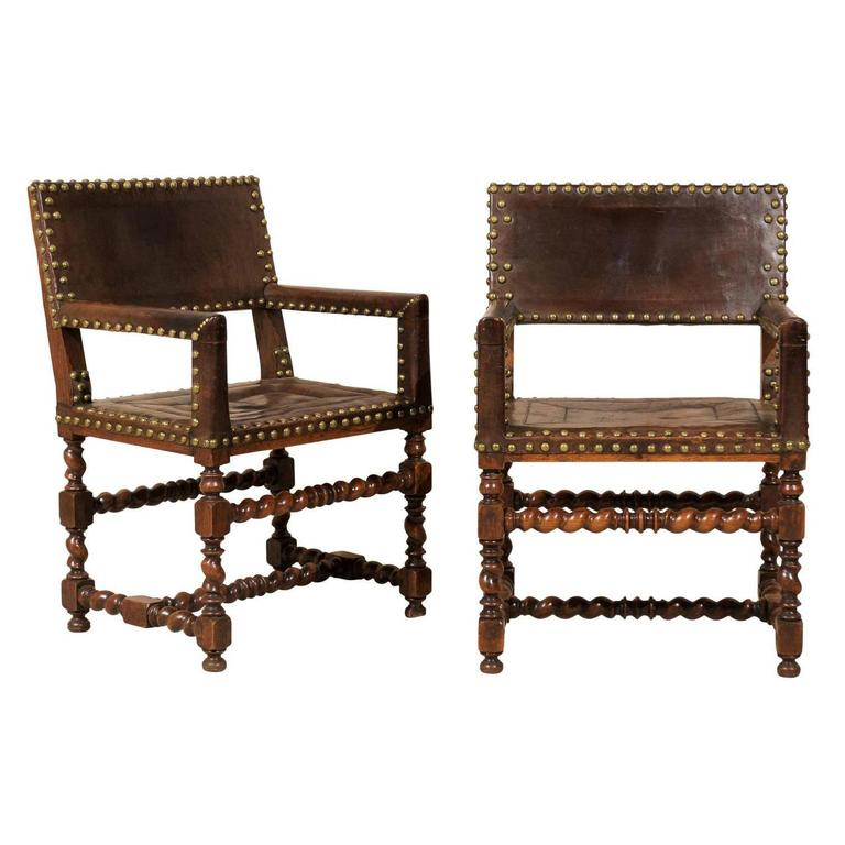 Pair of French 1920s Wood and Leather Armchairs with Turned Legs and Nail-Heads For Sale