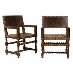 Pair of French 1920s Wood and Leather Armchairs with Turned Legs and Nail-Heads