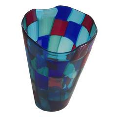 "Famous Fulvio Bianconi Vase ""Pezzato,"" from Venini, 1950s, Signed"
