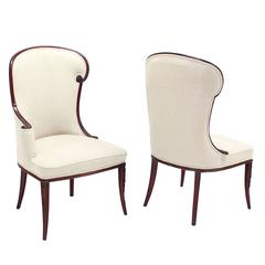 Pair of Mahogany Fireside Chairs with New Upholstery