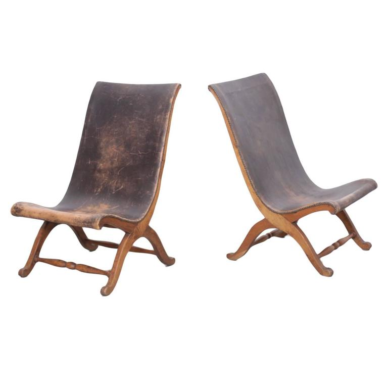 Unique Pair of 1940s Leather Miguelito Butaque Chairs from Mexico 1