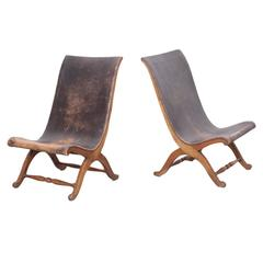 Unique Pair of 1940s Leather Miguelito Butaque Chairs from Mexico