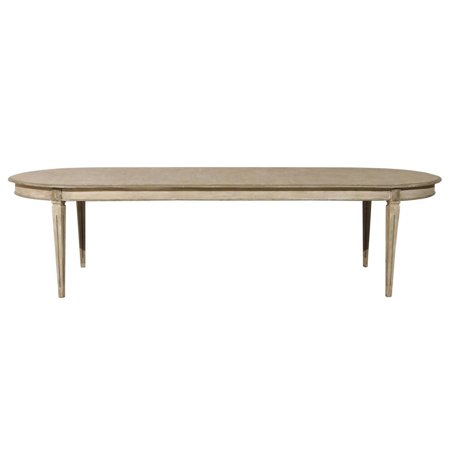 Swedish gustavian style painted wood oval dining table at for Painted dining table
