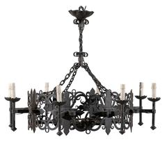 Italian Vintage Eight-Light Iron Circular Chandelier