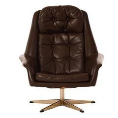 Danish Modern Tufted Leather Swivel Chair