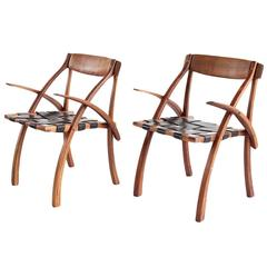 "Pair of Arthur Espenet Carpenter ""Wishbone"" Armchairs"