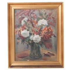 Framed Floral Oil Painting