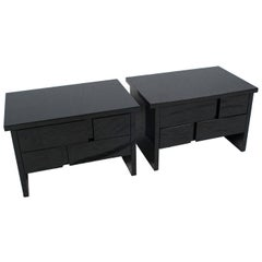 Pair of Black Lacquer Side Tables or Nightstands