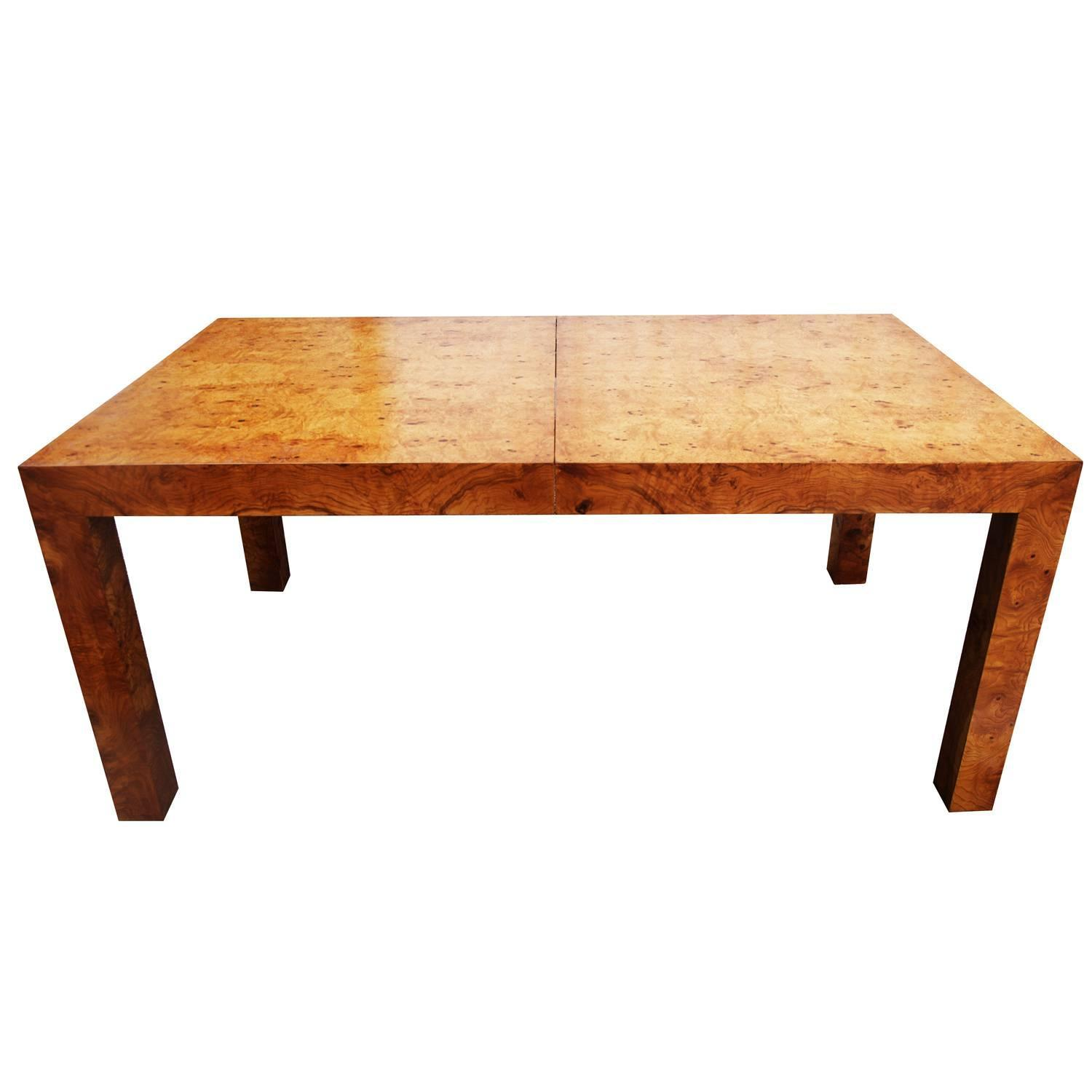 Milo Baughman Olive Burl Wood Parsons Dining Table Or Desk For Sale At  1stdibs