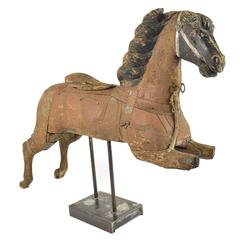 Late 19th Century Carved Wood Carousel Horse Fragment