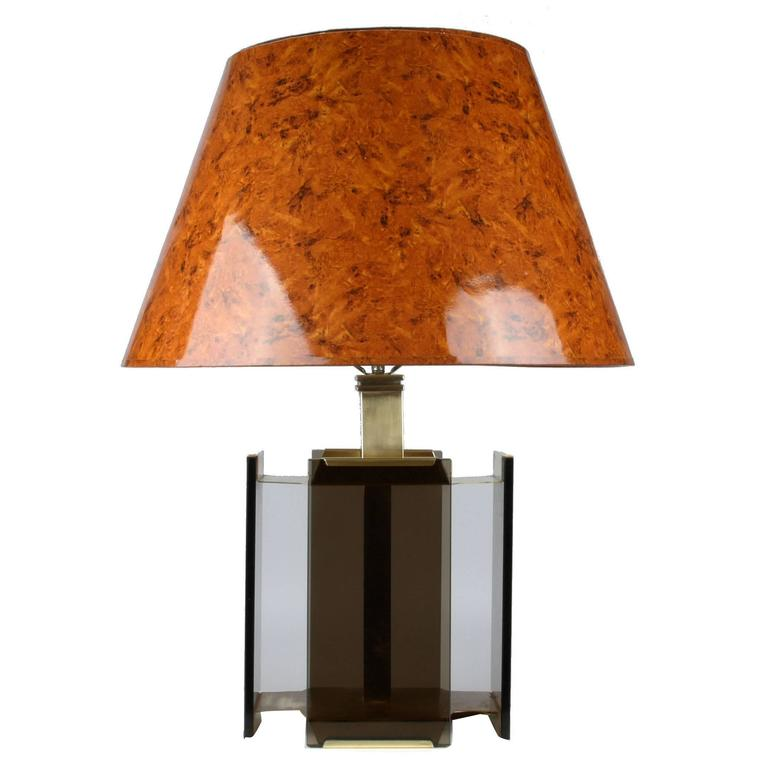 Paul Hanson Brass and Smoked Glass Table Lamp by Fratelli Melani