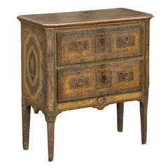 Italian Two-Drawer Commode with Rich Distressed Paint from the Early 1800s