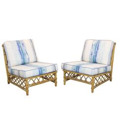 Pair of Rattan Lounge Slipper Chairs by Ficks Reed