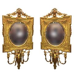 Pair of Antique 19th Century French Gold Mirror with Candleholders