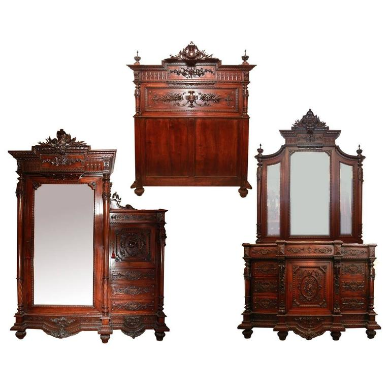 Antique 19th Century French Louis The XVI Three Pieces Bedroom Set At 1stdibs