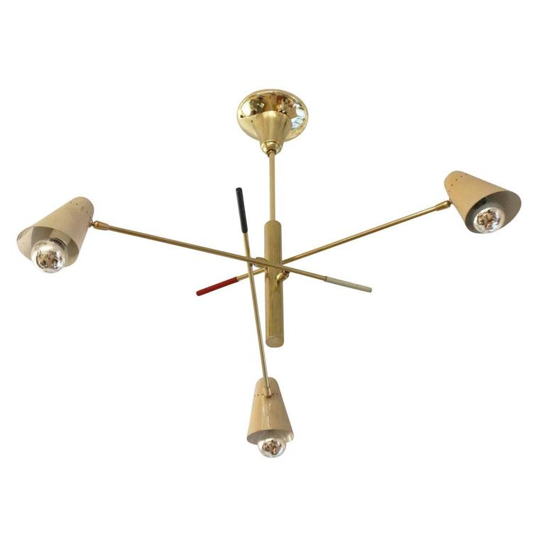 Diminutive Adjustable Arm Chandelier, Italy, 1960s