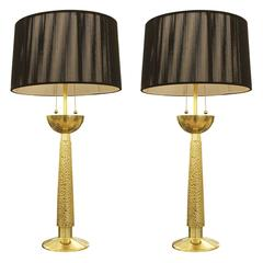 Pair of Brass Table Lamps by Bragalini, Italy, 1960s