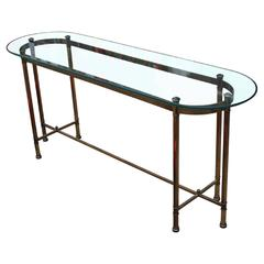 Lovely Brass and Glass Hollywood Regency Console by Labarge