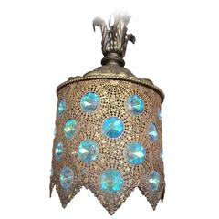 Brass Filigree Pendant Light with Iridescent Jewels