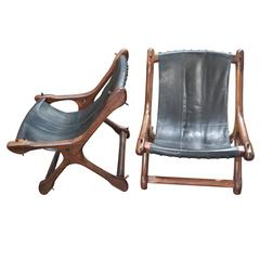 Pair of Don Shoemaker Sling Chairs in Black Leather