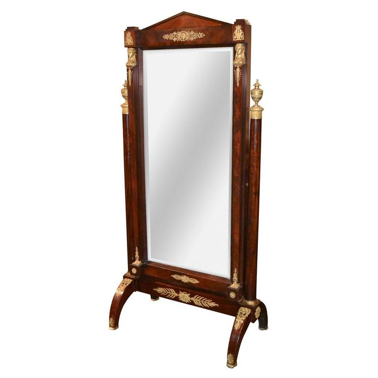 19th Century French Empire Cheval Mirror