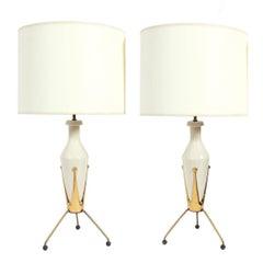Pair of Mid Century Ceramic Tripod Lamps