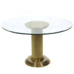 Rare Pedestal 1970s Dining Table, Romeo Rega attributed, Italy
