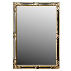 Ebonized and Gilt Hand-Carved Wood Wall Mirror by Jack Prager