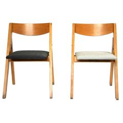 Folding Child Chair in Wood with Seat in New White or Black Maharam Fabric