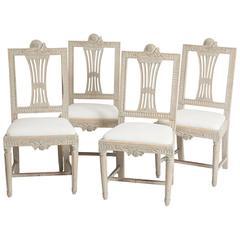 Set of Four Swedish Gustavian Period Dining Chairs, circa 1790