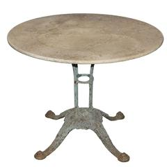 French Marble-Top Bistro Table with Beautiful Cast Iron Base