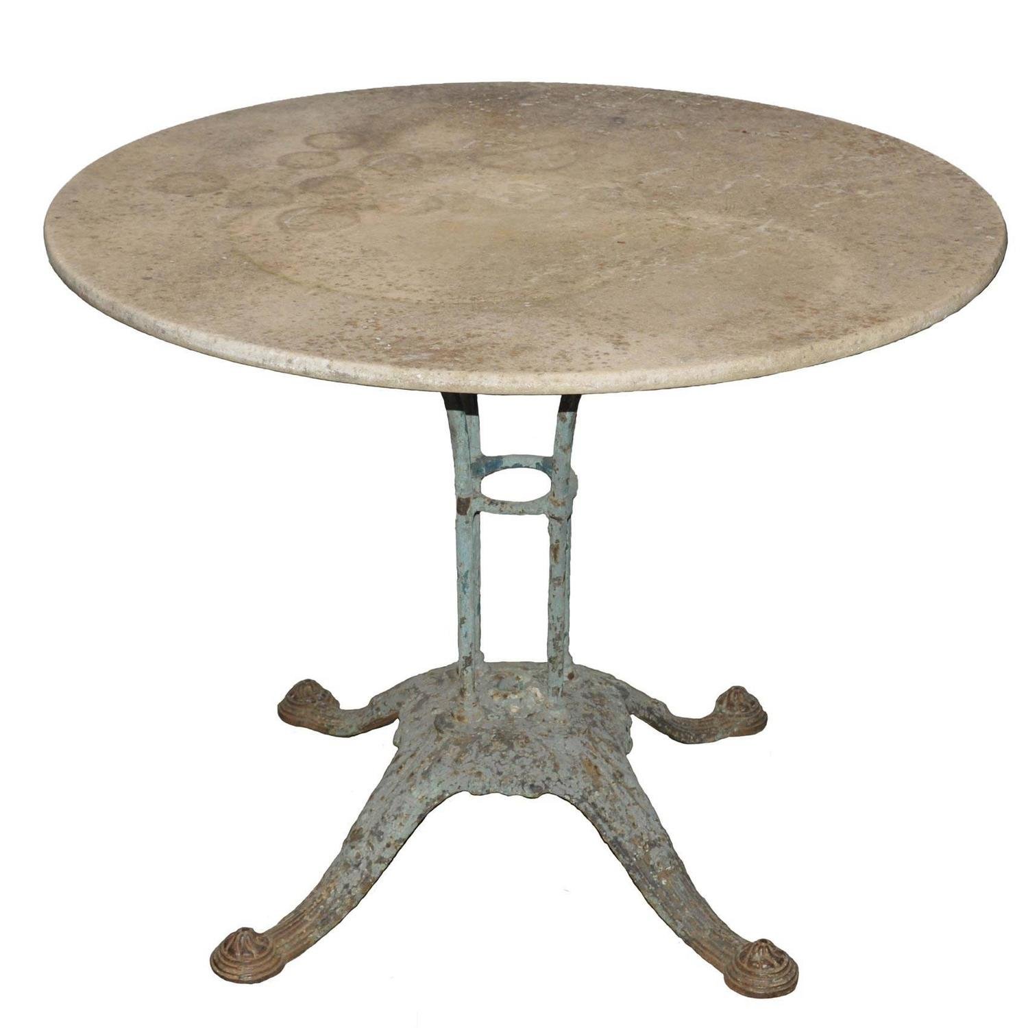 French Marble Top Bistro Table with Beautiful Cast Iron Base at