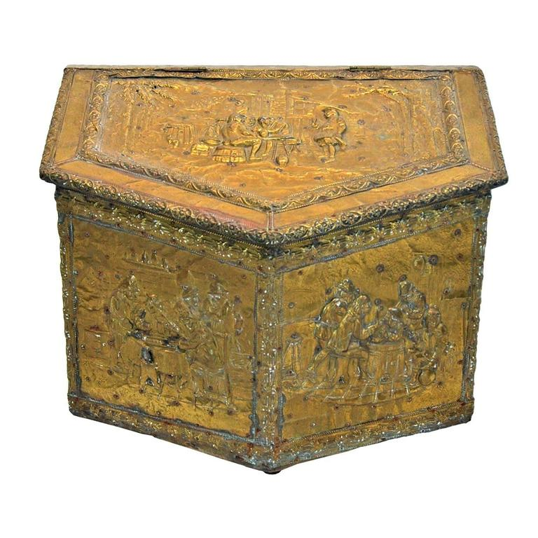 Br Repoussé Firewood Box For
