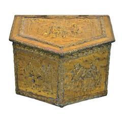 Brass Repoussé Firewood Box