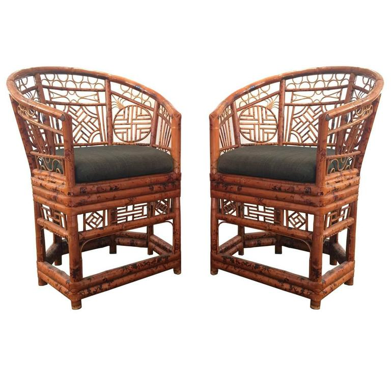 Pair Of Brighton Pavilion Chinoiserie Chippendale Tortoise Rattan Chairs 1