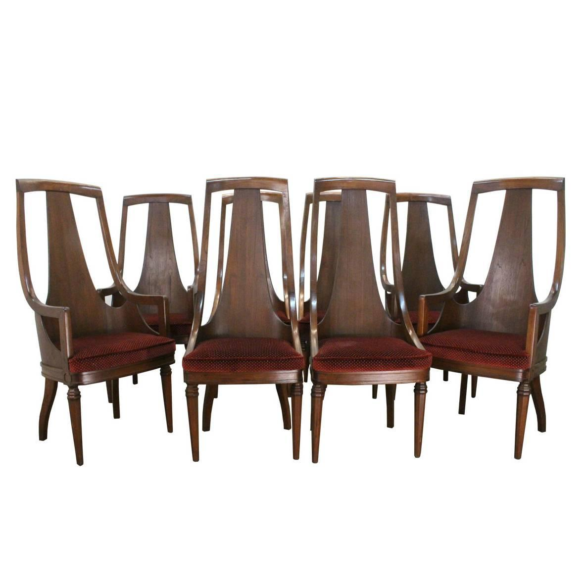 set of 8 high back mid century walnut dining chairs at 1stdibs