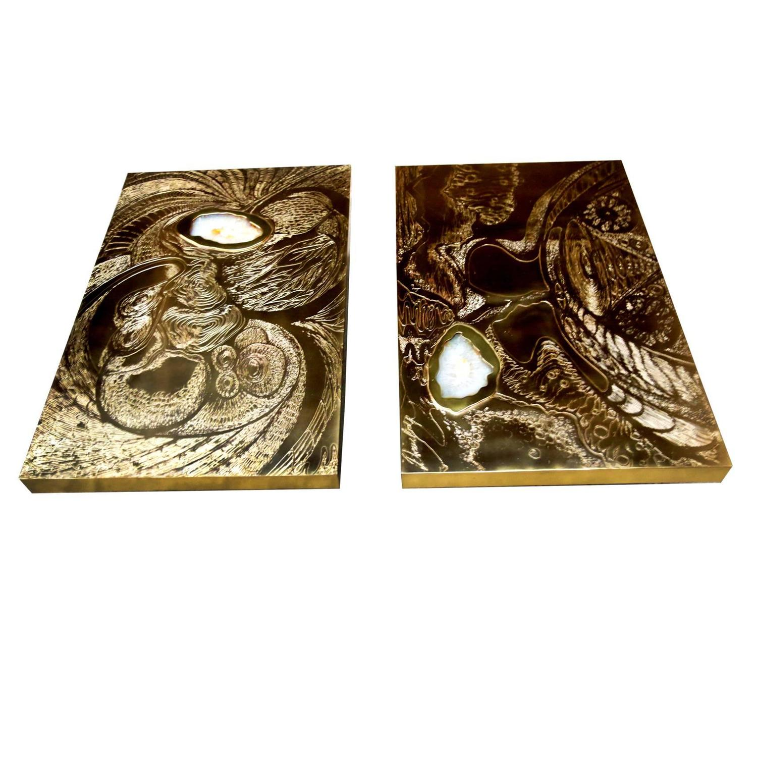 Vintage Matching Pair Of Brass Acid Etched Coffee Tables With Agate Stone  Inlay At 1stdibs