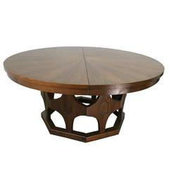 1960s Mid-Century Expandable Round Walnut Dining Table